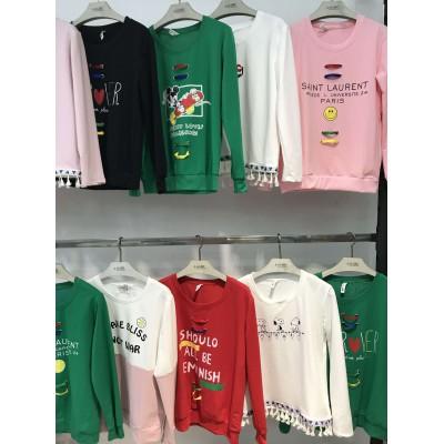 超便宜纯棉针织衫韩版系列跟单库存服装摆地摊大库房批发