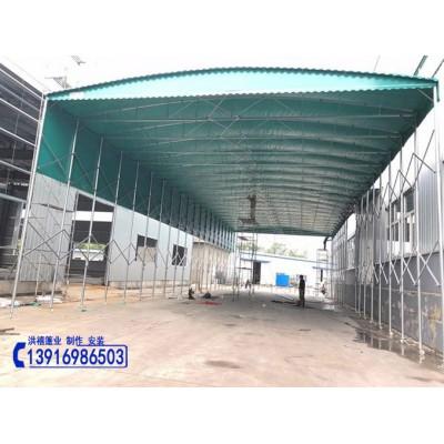 嘉兴桐乡(鸿禧百佳)大型移动收缩式仓储雨棚推拉帆布活动雨篷