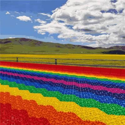 色彩斑斓的沃克七彩滑道 网红引流项目 彩虹滑道生产厂家