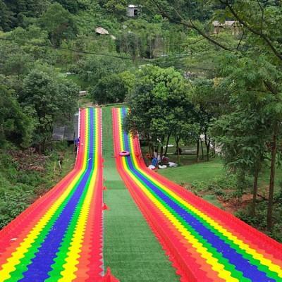 热门游乐项目 景区无动力彩虹滑梯 经久耐用的七彩彩虹滑道