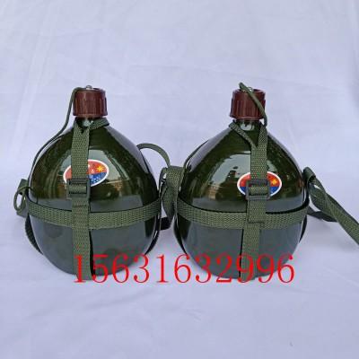 可手提含背带随身水壶老式水壶绿色扁水壶户外运动水壶